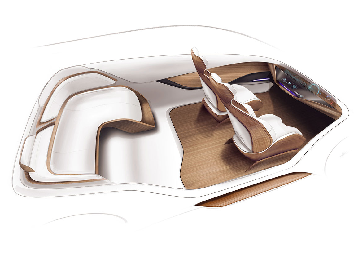 Wood is rapidly gaining in popularity as a material for car interiors: Danzer presented concepts and prototypes at the Future Interior Summit. (Rendering)
