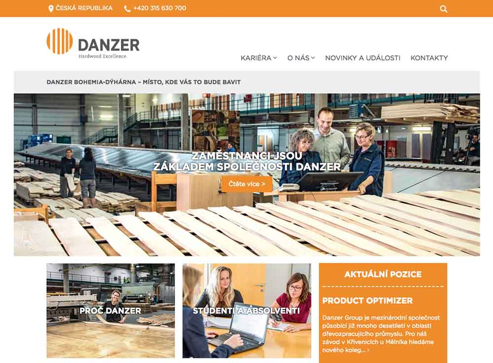 The new Danzer website www.danzer.cz has its focus on recruiting.